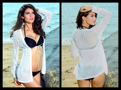 Slouchy Crochet Sweater in white or black  Item No. : White - DP20275-1; Black - DP20275-2  Size S/M only available.   A whisper-light, beach-ready sweater in a sexy open knit. Wear this easy linen-blend beauty as a swim cover-up or as a light layer on a balmy night. The beaded tie adds a waist-cinching dose of boho glam — by the sea or in the city. Beaded drawstring.  To order today, please email us at dieprettyclothing@gmail.com  ~ Die Pretty Clothing Co. www.dieprettyclothingco.com