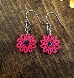 Red and pink earrings-flower earrings-paper quilled