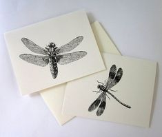 Dragonfly Card Set of 10 in White or Light Ivory by PetitePaperie, $10.00