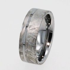 Mens Tungsten Wedding Rings / Meteorite Ring / Tungsten Wedding Band inlaid with solid Gibeon Meteorite - New1006