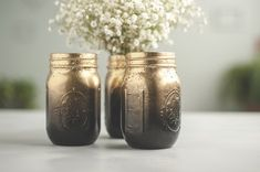 Set of 3 New Years Eve Decor Black and Gold Vases Glitter Mason Jars Ombre painted New Years Eve Decorations, Gold Party Decorations, Bridal Shower Decorations, Pint Mason Jars, Glitter Mason Jars, Gold Vases, Mason Jar Centerpieces, Ombre Paint, Outside Paint