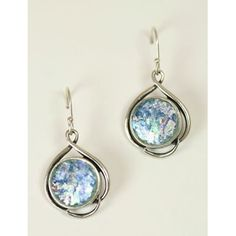 Roman Glass Round Dangle Earrings
