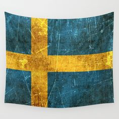 Vintage Aged and Scratched Swedish Flag Wall Tapestry by Jeff Bartels - Small: x Barn Quilt Designs, Quilting Designs, Sweden Flag, Kingdom Of Sweden, Sweden Travel, Society 6 Tapestry, Flags Of The World, Barn Quilts, Flag Design
