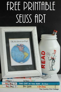 Free printable Seuss art -- print this art with a Dr. Seuss quote for Read Across America Day or just to display in your home. by Amanda Stanley Dr Seuss Art, Dr Suess, Printable Art, Free Printables, Printable Quotes, Diy Spring, Read Across America Day, Country Chic Cottage, Farmhouse Chic