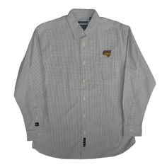 Vesi Sportswear white long sleeve button-up dress shirt with then gray grid design. $72.99