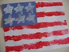 sponge paint flag-Happy Fourth Of July! - No Time For Flash Cards
