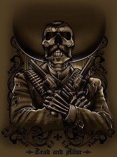 Dead And Alive by Adrian Balderrama. Arte Cholo, Cholo Art, Chicano Tattoos, Body Art Tattoos, Arte Lowrider, Tattoo Caveira, Aztecas Art, Aztec Tattoo Designs, Mexican Tattoo