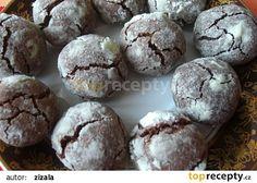 Čokoládové crinkles s bílým kabátkem Crinkles, Muffin, Cookies, Chocolate, Breakfast, Food, Crack Crackers, Morning Coffee, Biscuits