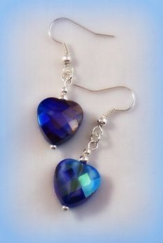 Picasso Art Glass Heart Earrings Blue Purple by RoseCottageVintage, $9.00