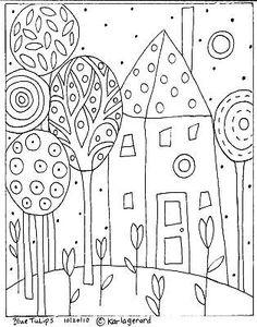 RUG-HOOKING-PAPER-PATTERN-Blue-Tulips-Folk-Art-Karla-G