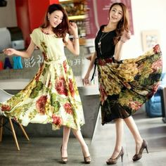 Summer Elegant Bohemian Style Short Sleeve Chiffon Dress --- Sign me up! :D I want one of each! I love the swishyness and the fact that its got some sleeves. It could work for many outings!