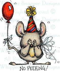 No Peeking Mouse - Mice - Animals - Rubber Stamps - Shop