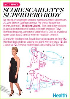 To tone up for her role in this month's Captain America: The Winter Solider, Scarlett Johansson did a variation of a burpee called a front sprawl. Ramona Braganza, one of her trainers, explains how to to do it.   Health.com