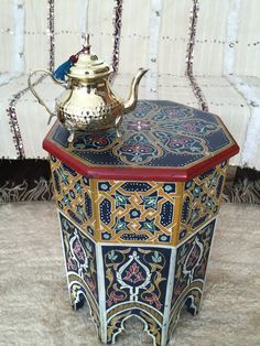 Vintage Moroccan coffee table, Tea table, Moroccan decor, Moroccan craft, Hand p… - Home Accentss Morrocan Table, Moroccan Home Decor, Moroccan Design, Moroccan Stencil, Moroccan Bedroom, Moroccan Lanterns, Moroccan Interiors, Moroccan Tiles, Build A Table