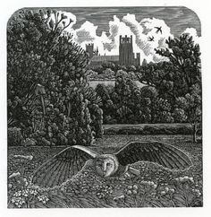 'The Old Owl House' by Andy English (wood engraving)