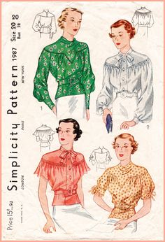 Vintage Sewing Pattern Simplicity 1987 set of blouses 4 styles art deco repro reproduction Vintage Dress Patterns, Blouse Vintage, Vintage Dresses, Vintage Outfits, Vintage Fashion, 1930s Fashion, Moda Vintage, Retro Mode, Simplicity Patterns