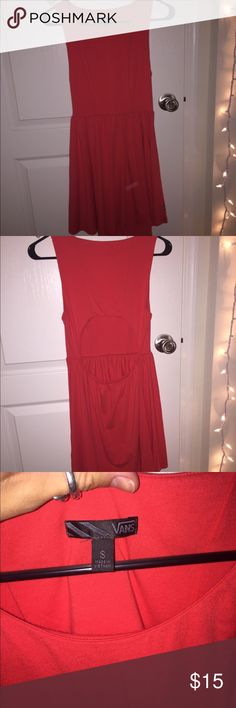 Vans bright red dress with cutout back This bright red dress is super fun and very comfortable. Tight in all the right places and very soft! Cut out in the back adds perfect accent. Only worn once, no damages perfect condition. Vans Dresses Backless