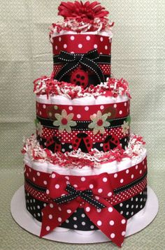Modern Red Ladybug Diaper Cake for Baby Shower Centerpiece and New Baby Gift via Etsy