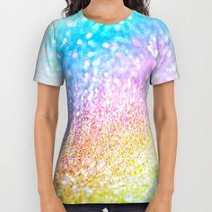 rainbow glitter All Over Print Shirt by Haroulita   Society6 #fashion #fashionista #fashionable #fashionblogger #colorful #rainbow #glitter #sparkle #top #tshirt