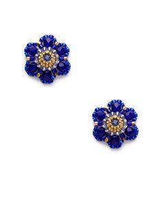 Miguel Ases Blue Bead Floral Stud Earrings