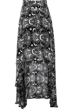 New Moon Maxi Skirt [B]   KILLSTAR Add some cosmic glamour mixed with midnight delight; the 'New Moon' maxi skirt is a perfect statement piece - cascading soft chiffon with a fishtail back and fitted waist with zip closure. Decorated with a beautiful statement graphic of moons, moths and sigils. Simplicity mixed with perfect balance of decadence - will charge you with an instant magical flow.
