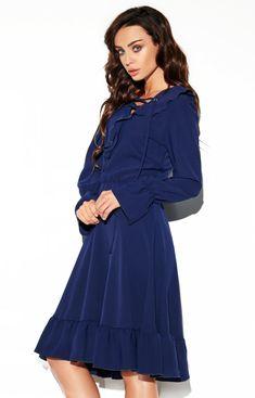Lemoniade Rozkloszowana sukienka z wiązaniem granatowa L313 Boho, Cold Shoulder Dress, Casual, Dresses, Fashion, Gowns, Moda, Fashion Styles, Dress