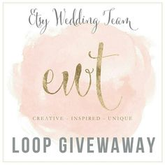 Etsy Wedding Team is hosting a loop giveaway on Instagram starting March 16! Visit  me (@sunshineandravioli) or EWT on  Instagram (@etsyweddingteam) for all of the details!