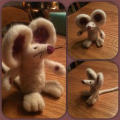 """Needle felted mouse! He's about 3"""" tall. Saw something similar on etsy/pinterest, but then added my own touches (bigger ears, paw pads, more whiskers, no mouth, different color scheme)."""