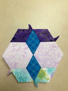 "Katja Marek's The New Hexagon - Millefiore Quilt-Along: Rosette 1: ""block 12 - Brandi"" -- completed by Tracy Pierceall, 1/20/2015"