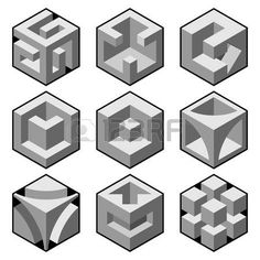 Illustration of set of 81 vector cube icons vector art, clipart and stock vectors. Hexagon Quilt, Hexagons, 3d Quilts, Isometric Art, Geometric Drawing, Cube Design, Concrete Art, Doodle Patterns, Concept Architecture