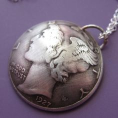 Mercury Dime Necklace by sudlow on Etsy, $33.00. coin jewelry <3