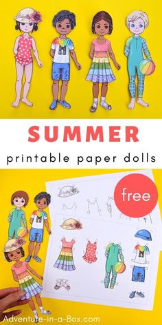 Get these free printable paper dolls ready for summer with a set of colourful and light summer clothes! Old Fashioned Toys, Human Body Anatomy, Paper Dolls Printable, School Readiness, Kids Swimwear, Easy Crafts For Kids, How To Make Paper, Activities For Kids, Free Printables