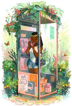 Phone Booth Mini Art Print by genevab Black Girl Art, Black Art, Art Girl, Arte Black, Creation Art, Afro Art, Magic Art, African American Art, African Art
