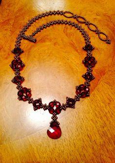 Beadwoven Garnet Swarovski crystal necklace by AmyKanarekDesigns