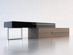 "Modern Sense Furniture - Gramercy modern tv stand lengthening up to 148"" or shortened to 95"""