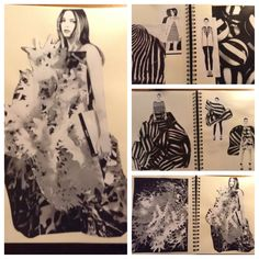 Monochrome fashion design sketchbook  find an image that inspires you and try to create a  sketch incorporating the concept then create a collaged idea with part or all of the selected inspiration image