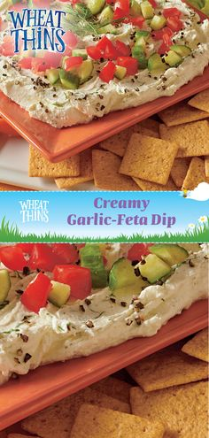 Spring into fresh flavors with WHEAT THINS Creamy Garlic-Feta Dip for your Easter or Cinco De Mayo parties. Combine a brick Neufchatel cheese with 8 oz of reduced-fat crumbled feta in a food processor, then pulse in a 5 oz. container of Greek yogurt, fres Appetizer Dips, Yummy Appetizers, Appetizers For Party, Appetizer Recipes, Dip Recipes, Cooking Recipes, Recipies, Wheat Thins, Garlic