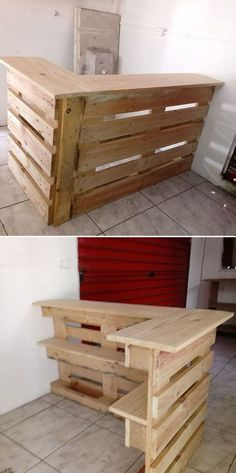 Wooden Pallet Projects Pallet bar - Searching for some innovative wooden pallet wall art ideas that won't break your budget plan? We were, as well and we found a huge amount … Bar Pallet, Wooden Pallet Wall, Pallet Wall Art, Wooden Pallet Projects, Wooden Pallet Furniture, Wood Pallet Signs, Wooden Pallets, Bar Furniture, Pallet Size
