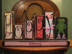 Check out her Etsy page for more adorable custom blocks!!!---Hoppy Spring  Spring Sign Word Blocks by PunkinSeedProduction, $42.00