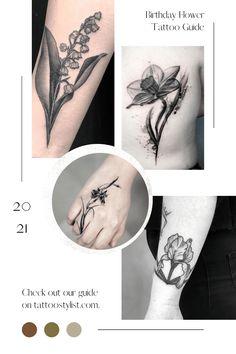 birthday-flower-pinterest Tattoo Designs And Meanings, Flower Tattoo Designs, Tattoo Dragon And Phoenix, Crow Tattoo Design, Birth Flower Tattoos, Arrow Feather, Language Of Flowers, Birth Flowers, Delphinium