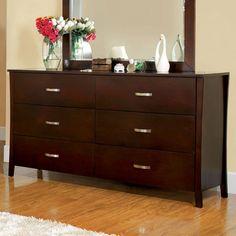Furniture of America Molino Brown Cherry Dresser with Mirror Repurposed Furniture, Cheap Furniture, Online Furniture, Kitchen Furniture, Furniture Ideas, Furniture Buyers, Furniture Outlet, Furniture Stores, Luxury Furniture
