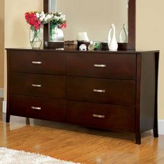 Midland Contemporary Style Brown Cherry Finish Bedroom Dresser