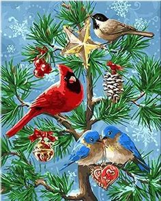 Merry Christmas Birds Diy Diamond Painting Animal Full Mosaic Drill Resin Embroidery Pattern Cross Stitch Kits Home Crafts Christmas Bird, Christmas Scenes, Christmas Animals, Christmas Past, Vintage Christmas Cards, Christmas Pictures, Vintage Cards, Vintage Postcards, Christmas Crafts