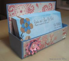 Cards and More by Sheri: Business Card Holder/Box Tutorial Business Card Displays, Business Card Maker, Business Gifts, Business Card Holders, Craft Business, Business Ideas, Craft Fair Displays, Display Ideas, Market Displays