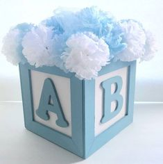 ABC Baby Block Centerpiece For Baby Shower or Birthdays - Custom Colors, Themes & Letters Available Baby Shower Azul, Abc Baby Shower, Shower Bebe, Baby Shower Balloons, Baby Shower Gender Reveal, Baby Shower Parties, Baby Shower Themes, Shower Ideas, Baby Showers