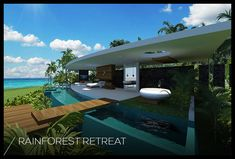 Resorts villas in Tahiti for honeymoon couple with pool spa in rainforest on the beach open bath living dining kitchen sundeck Interior Tropical, Porch And Terrace, Exotic Homes, Luxury Modern Homes, My Pool, Pool Spa, Water House, Jacuzzi, Modern Pools