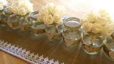 wedding table decorations RUSTIC IVORY flowers by moniaflowers