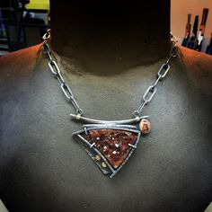 "(Swipe to see 4 photos!) Spessarite Garnet Druzzy And Fire opal pendant, sterling and 22k gold, 18"" long chain (including pendant) AVAILABLE! DM me for details if interested! #oneofakindnecklace #handmadejewelry #sterlingsilver #garnetdruzzy #druzzy #oxidizedsterlingsilver"