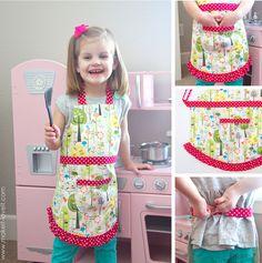Ruffle Apron PDF Pattern (6 apron girl & boy styles, 5 sizes, easy Velcro closure, printable pattern pieces) | via Make It and Love It