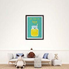 You Make Me Happy Print, Nursery Art, Instant Download Printable Nursery Art, Baby Decor, Nursery Wall Art, Room Art, Baby Print You Make Me Happy, Room Art, Baby Prints, Baby Decor, Nursery Wall Art, Poster Prints, Printable, Artwork, How To Make
